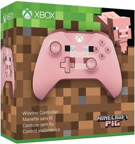 Controle Xbox One S Minecraft Pig Sem Fio Microsoft Rosa