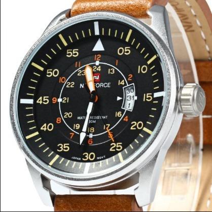 Relógio Naviforce Masculino Importado Original Couro