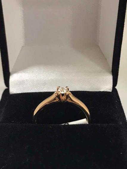 Anillo Compromiso Diamante 12pts Oro Rosa 14k + Regalo