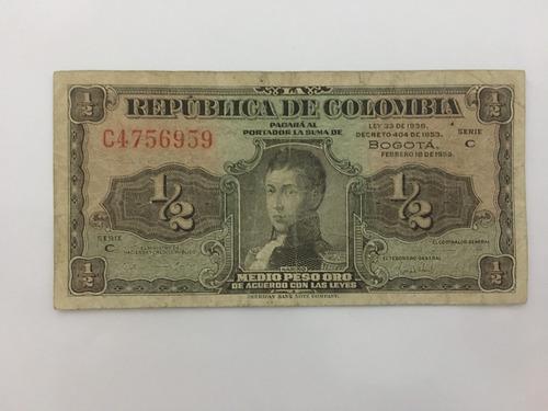Imagen 1 de 2 de Billete De Medio Peso Lleras De 1953 Colombia
