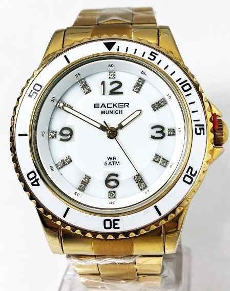 Relogio Dourado Mostrador Branco Feminino Backer 34160026