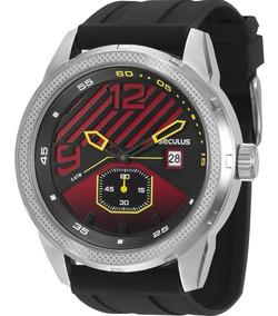 Relógio Seculus Masculino Prata Preto Silicone 90005g0svnu1