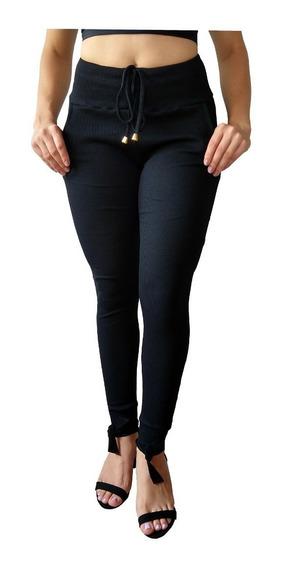 Calça Feminina Cintura Alta Tipo Moletom Malha Canelada