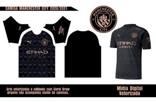 Arte Camisa Manchester City Preta 2020/21 Vetor - Sublimação