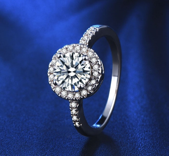 Anel Feminino Banhado A Ouro Branco Diamante Cz Compromisso