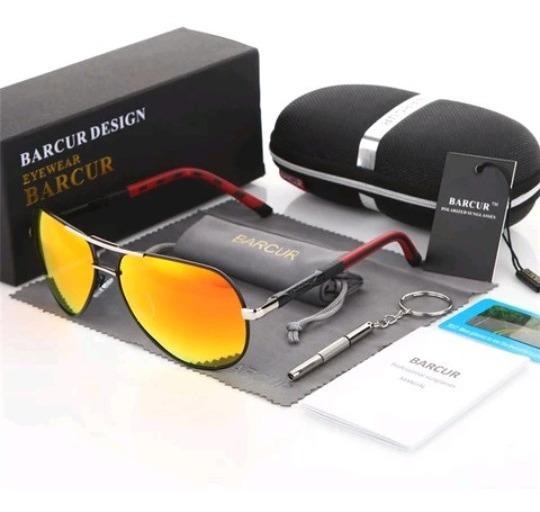 Óculos Masculino Aviador Barcur Original Polarizado + Brinde