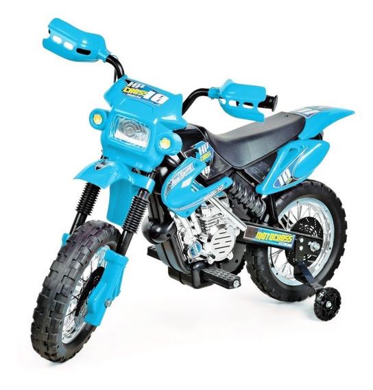 Mini Moto Cross Infantil Elétrica Azul 6v Motocross