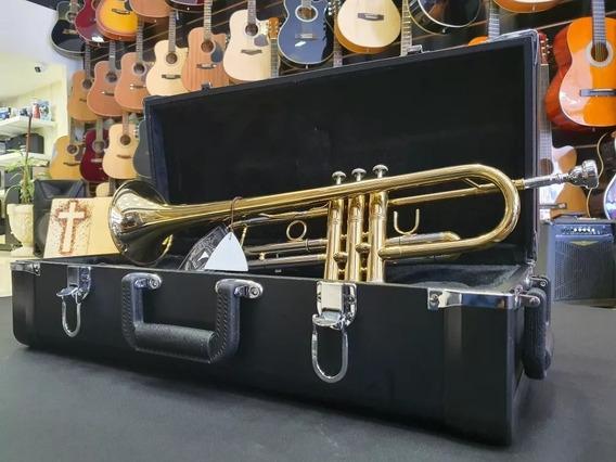 Kit Trompete Eagle Tr504 Laqueado Bb Com Suporte E Estante