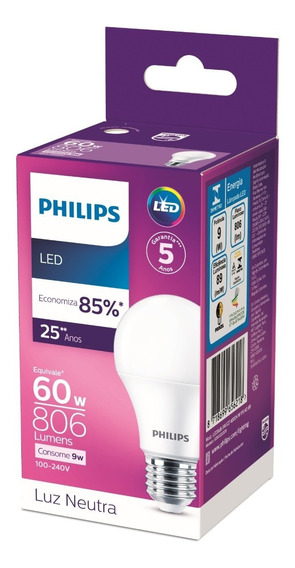 Kit 10 Lâmpadas Led Bulbo Philips 9w 806lm Bivolt