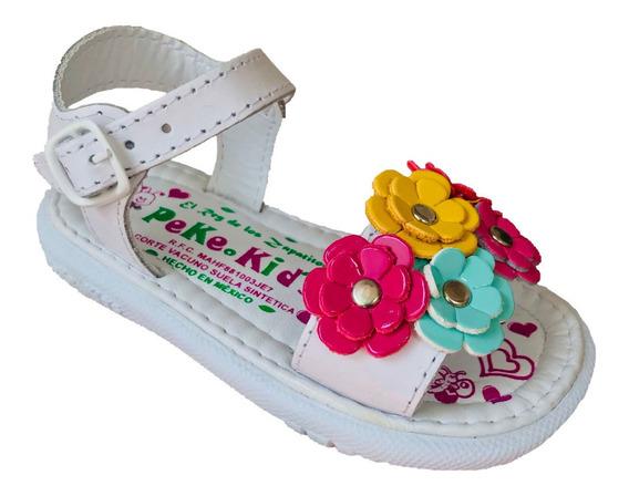 Huarache Infantil Niña Peke Kids 8 Blanco Piel