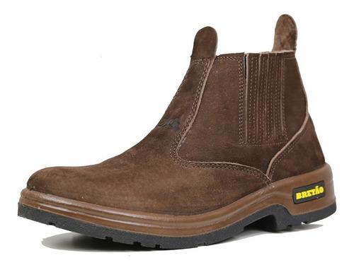 Imagem 1 de 6 de Botina Bretão Boots Em Couro Nobuck Linha Agricola Promoção