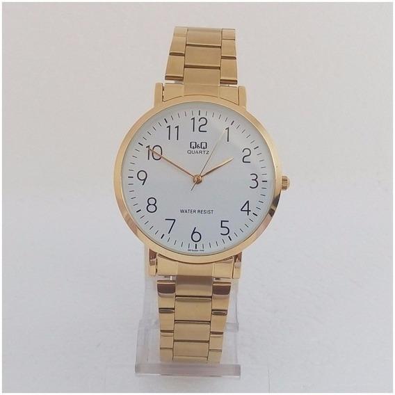Relógio Masculino Qq Quartz Q978j Vip Slim Dourado Original