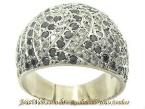 A9019-70364 Máximo Anel Oval Diamantes Brancos E Negros Ouro
