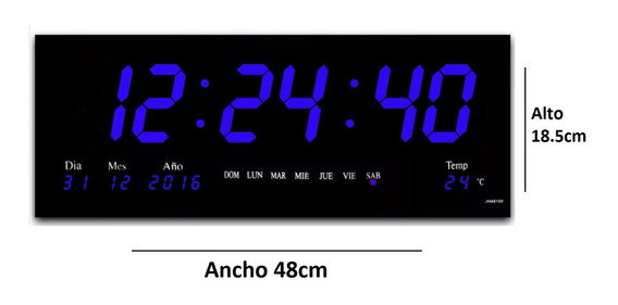 Reloj Led Digital Pared Azul 48cm Calendari Termometro 5pzs