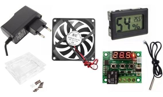 Kit Chocadeira Termostato W1209 Fonte Cooler Higrômetro Case