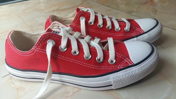 Zapatillas Rojas Converse Mujer T37.5 Excelente Estado