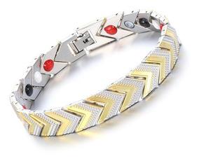 Pulseira Aço Inox Magnética Energética Bracelet Arrow 21,5cm