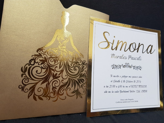 Tarjeta Invitacion Foil Dorado Hot Stamping 15 Bodas