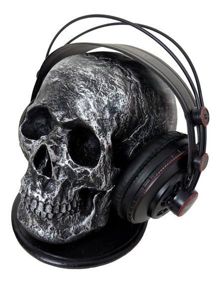 Cranio Caveira Esqueleto Prata Fone De Ouvido Headset