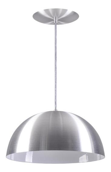 Pendente Meia Lua Meia Bola Esfera Alumínio 34cm - Escovado