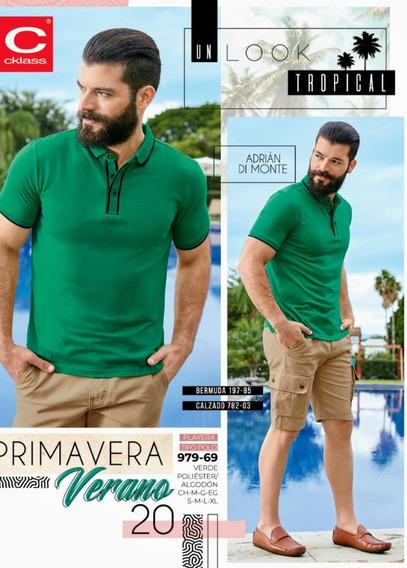 Playera Tipo Polo Verde 979-69 Cklass Primavera-verano 2020