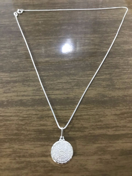 Corrente Prata Maciça 925 C/ Pingente Pai Nosso 60cm