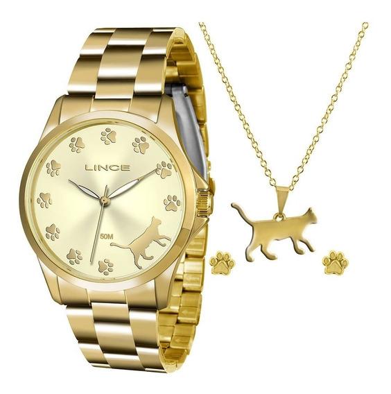 Relógio Lince Lrgj063l Kt30 C1kx Dourado Ouro Gato Gatinho