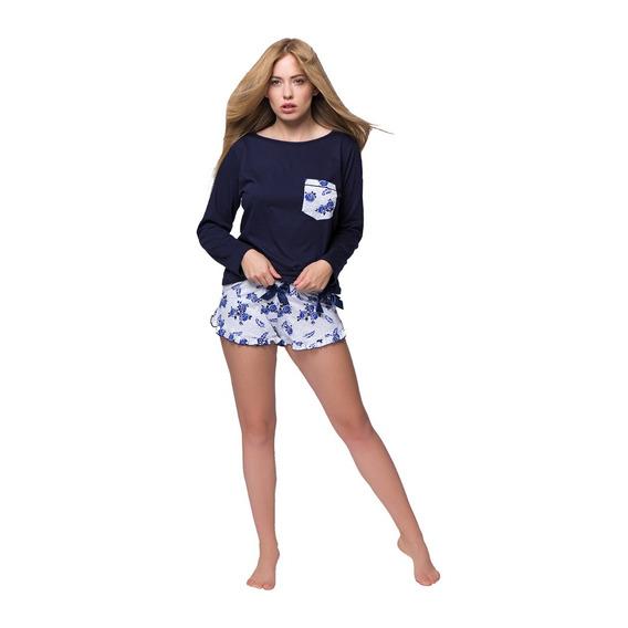 Pijama Corto Mujer Marine Azul