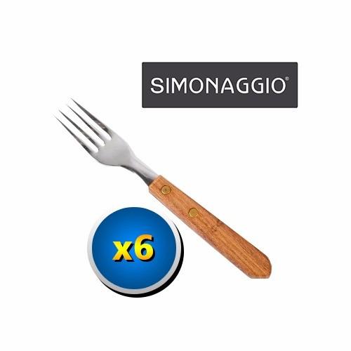 Set 6 Cubiertos Tenedor Simonaggio Hoja Acero Mango Madera