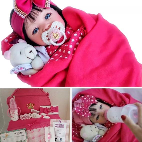 Boneca Reborn Realista + Enxoval Saída Maternidade Pink