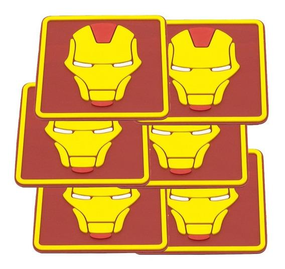 Jg 6 Porta Copos Emborrachados Alto Relevo Heróis Marvel Dc