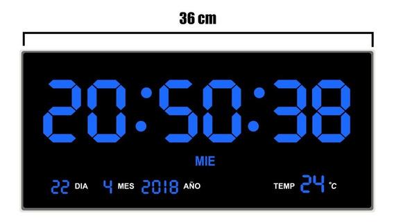 Reloj Digital De Pared Led 36 Cm Largo Termometro Fac