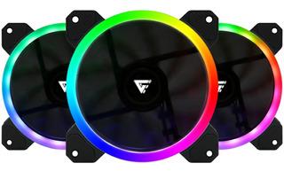 Kit 3 Ventiladores Game Factor 120mm C/control Rgb 2 Tiras