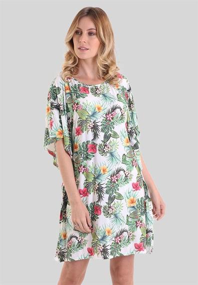 Vestido Com Mangas Amplas Flores De Hibisco
