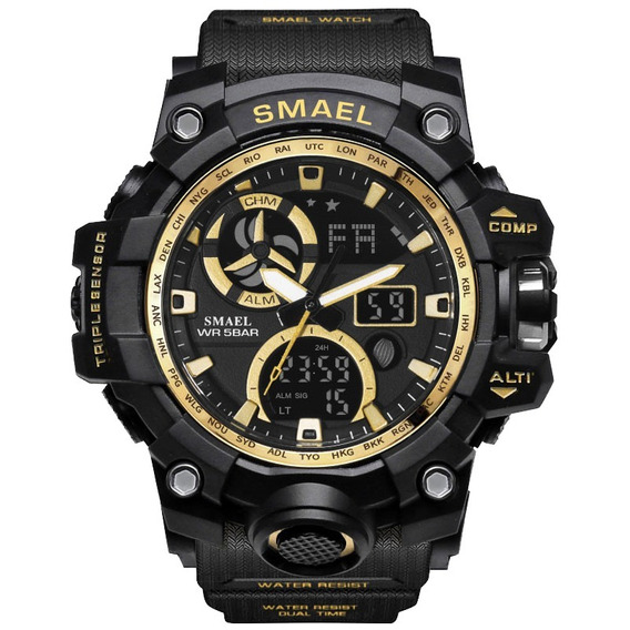 Relógio Smael Masculino Esportivo Militar Black 1545-c