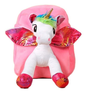 Maleta Morral Unicornio Peluche Niña Mujer Rosado Pony Ofert