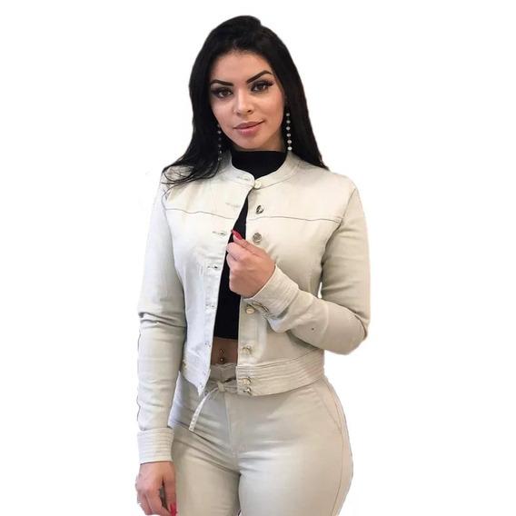 Jaqueta Jeans Feminina Com Lycra Bege Escura Verde Militar