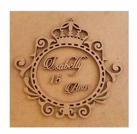 Caixa 15x15x5 Mdf Crú Brasão 15 Anos Debutante Coroa