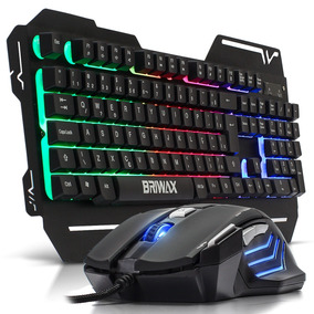 Kit Teclado Semi Mecânico Gamer Mouse 3200dpi Led Luminoso