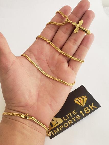 Cordão 3mm Grumet + Pingente + Pulseira Banhado A Ouro 18k