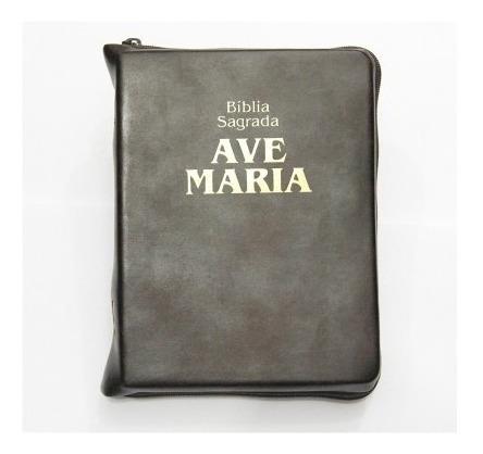 Bíblia Sagrada Ave Maria Marrom Zíper Pequena 15 X 11,5 Cm