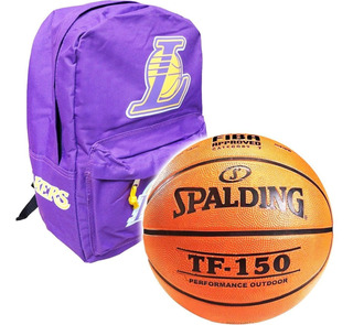 Pelota Basket Spalding Tf150 Nº7 + Mochila Nba Lakers El Rey