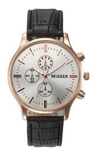 Reloj Hombre- Acero Inoxidable Y Cuero- Migeer- Oferta!