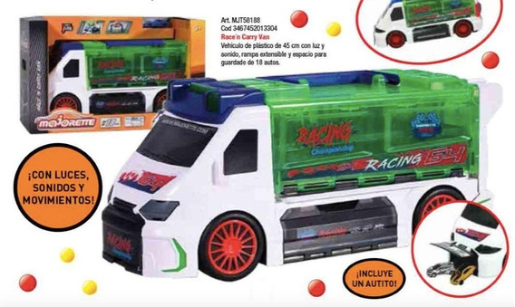 Race ´n Carry Van Vehiculo De 45 Cm Con Luz Y Sonido