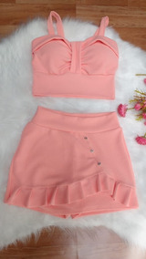 Cropped Top Conjunto Feminino Curto Saia + Cropped Top 2019