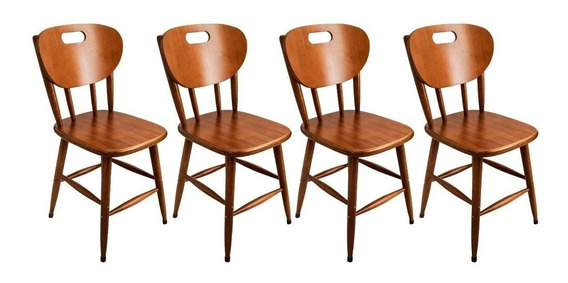 Kit 4 Cadeiras Para Mesa De Cozinha Em Madeira Maciça