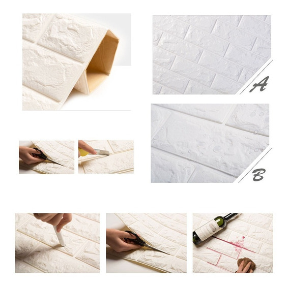 1 Plastico Tapiz Lavable Moderno Para Pared 3d Resiste Agua