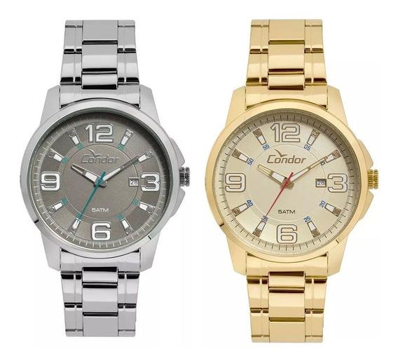 Relógios Masculinos Condor Prata + Dourado - Escolha Seu Kit