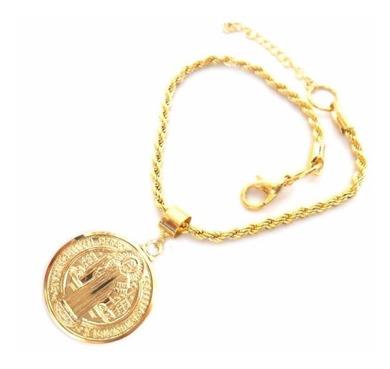 Pulseira Pingente Medalha Imagem São Bento Folheado Ouro 18k