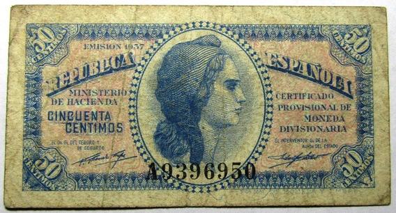 España Gobierno Provisional 50 Centimos 1937 Vf Pick 93